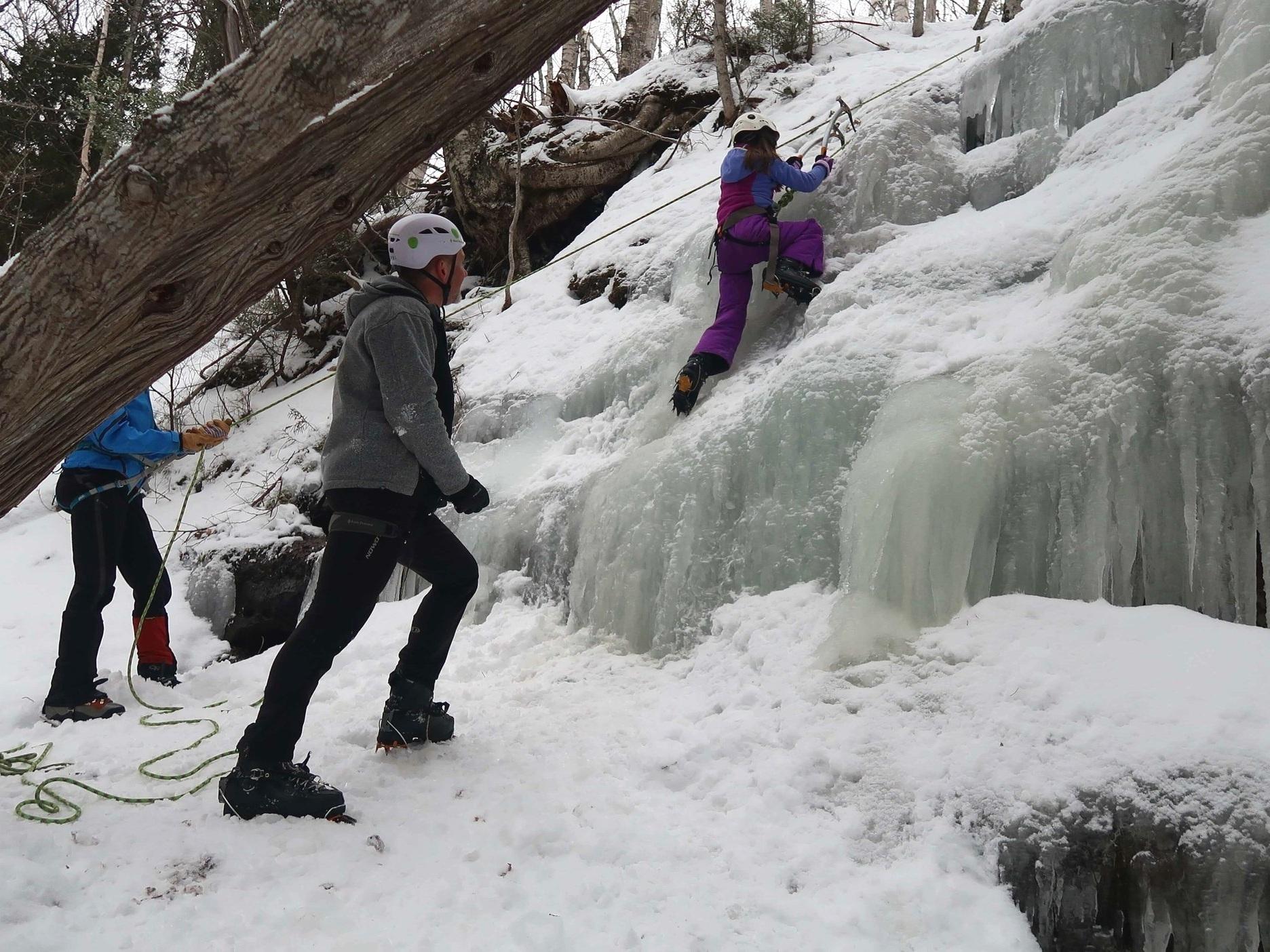 Ice Climbing at Pictured Rocks National Lakeshore in Munising, Michigan