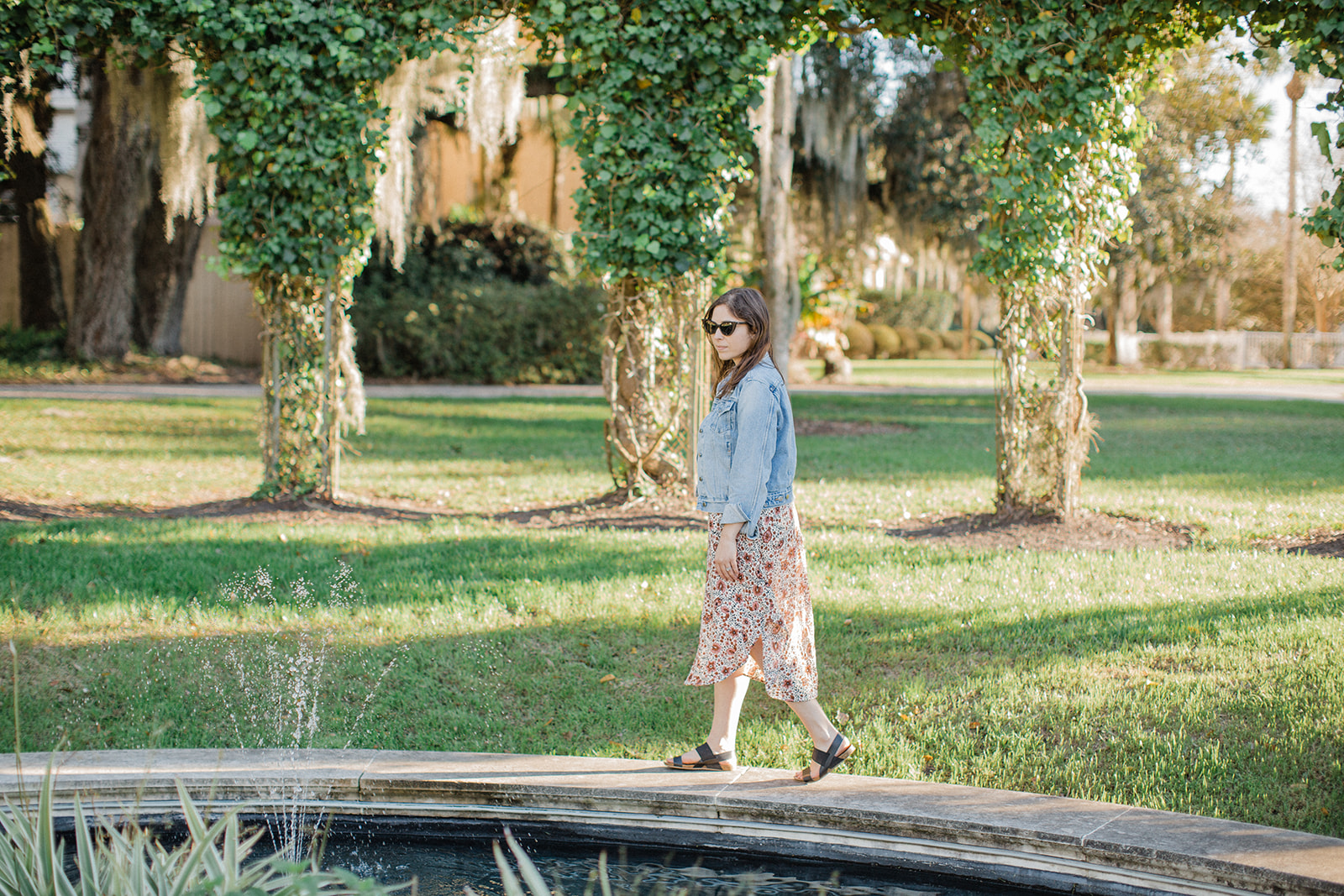 Exploring the sunken garden at Crane Cottage on Jekyll Island