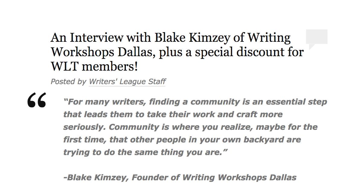 Blake Kimzey Writers' League of Texas