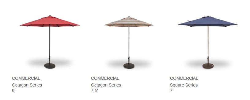 FOR THE RIGORS OF DAILY USE, WE HIGHLY RECOMMEND THE COMMERCIAL SERIES UMBRELLA. WITH IT'S NO CRANK OR CORD FUNCTION AND HEAVIER DUTY 1.5MM THICK POLE, THIS UMBRELLA SERIES IS A TOUGHER OPTION. AVAILABLE BY SPECIAL ORDER IN MANY OUTDOOR FABRICS. AVAILABLE IN BRONZE, BLACK OR ANODIZED FRAME COLORS. BASES SOLD SEPERATELY,