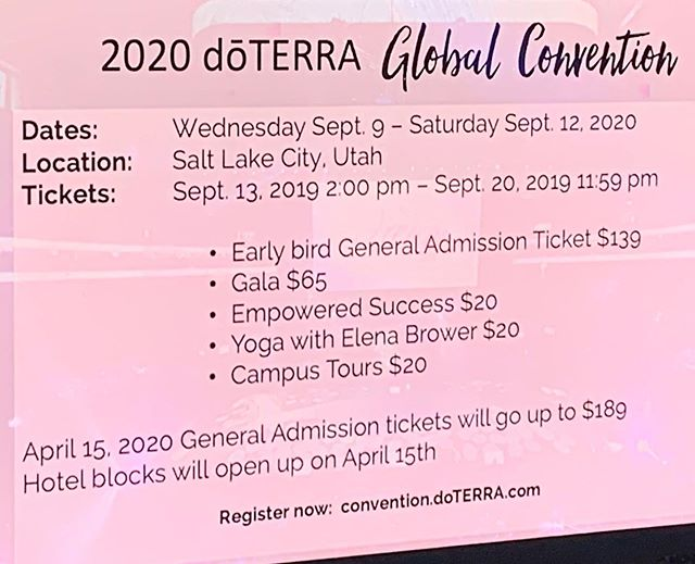LISTEN UP!! doTERRA Convention 2020 registration is live! Register now and you'll save $50! After you register, come back to this post and comment that you're registered for 2020 and you'll be entered into a drawing for a product from this year's Convention Kit.  https://convention.doterra.com/flow/doterra/globalcon2020/reg/login