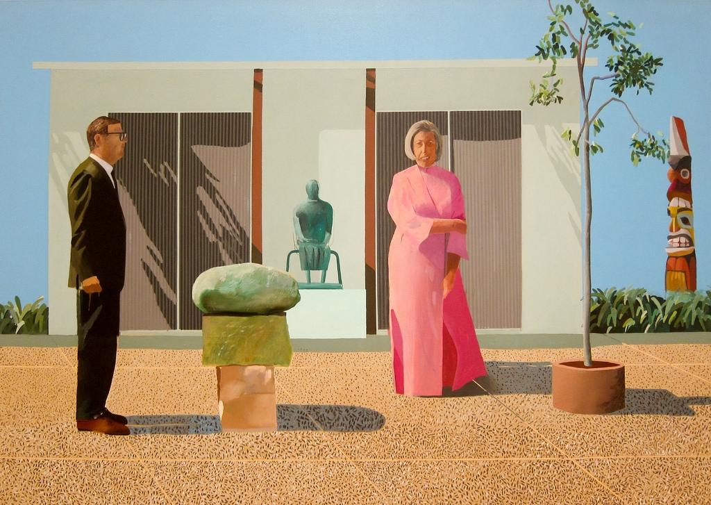 """""""American Collectors"""" ist ein Gemälde, das Weisman – abgebildet mit seiner ersten Frau Marcia – 1968 bei David Hockney in Auftrag gab. Er zahlte dem Meister damals 18.000 Dollar. Das Bild hängt heute im Art Institute von Chicago und ist eines der berühmtesten Bilder des Briten"""