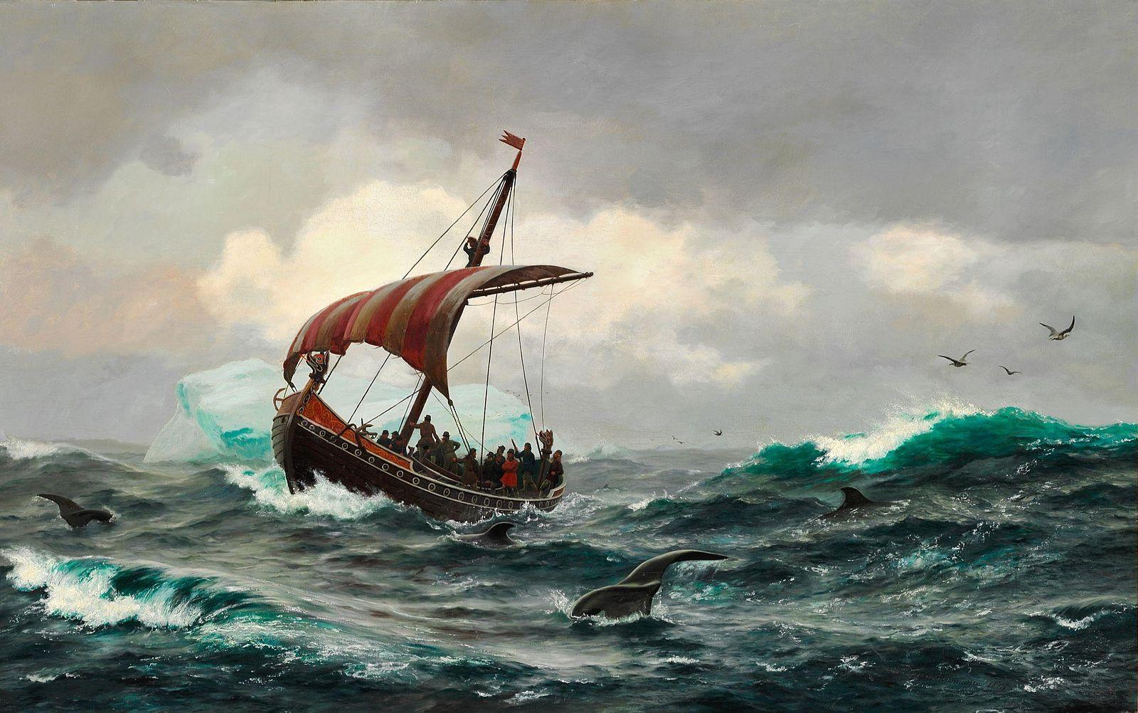 Vikings. Summer in the Greenland coast circa year 1000.    Public Domain