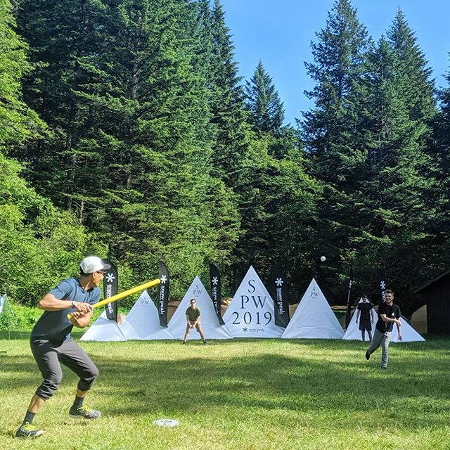 Run on balls in play, swing til you miss, over the banners is a home run. #spw2019 #newtraditions #snowpeakusa #wiffleball