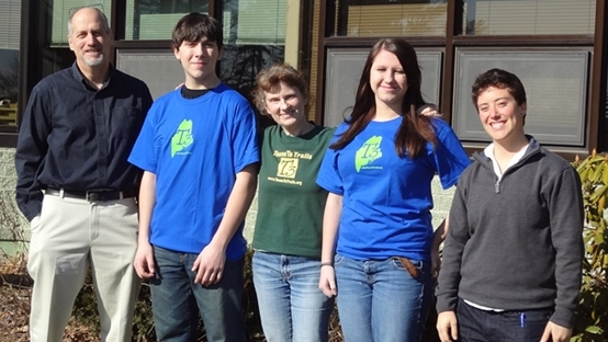 February 2012 photo from left to right: Ralph Keyes (Wiscasset High School Outing Club Advisor); Nicholas Brackley (Scholarship recipient); Carol Leone (Teens To Trails); Shania Marr (Scholarship recipient); Sara Hirsch (Chewonki)