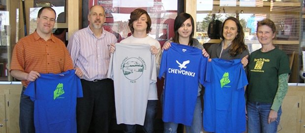 February 2011 photo from left to right: Ryan Linehan (Chewonki's Summer Wilderness Programs Director); Ralph Keyes (Wiscasset High School Outing Club Advisor); Joseph Chapman; Annalisa Haase; Genell Vashro (Chewonki's Girls Camp Director); Carol Leone (Teens To Trails)