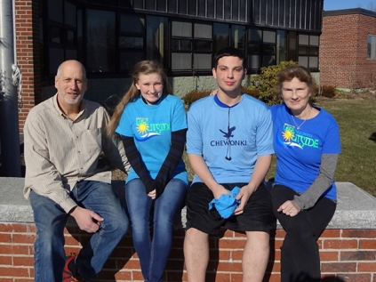 (left to right) Outing Club Advisor Ralph Keyes, Arieanna Mills, David Fairfield, T3 Founder Carol Leone
