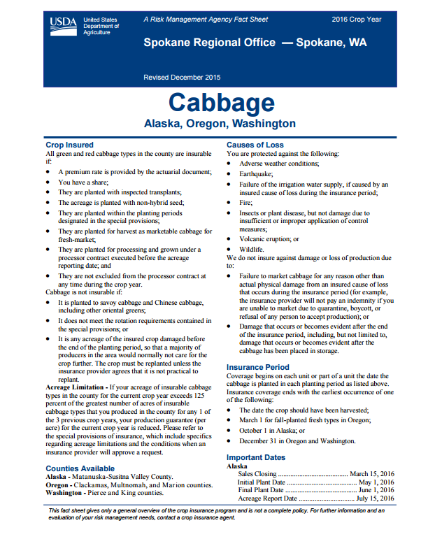 Cabbage Fact Sheet