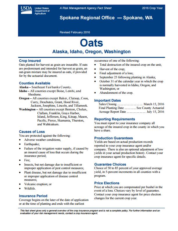 Oats Fact Sheet