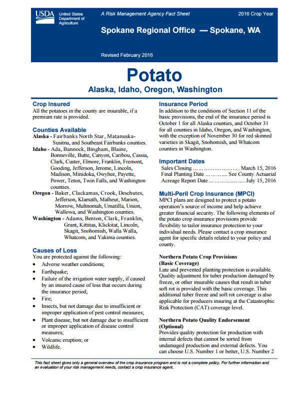 Potato Fact Sheet
