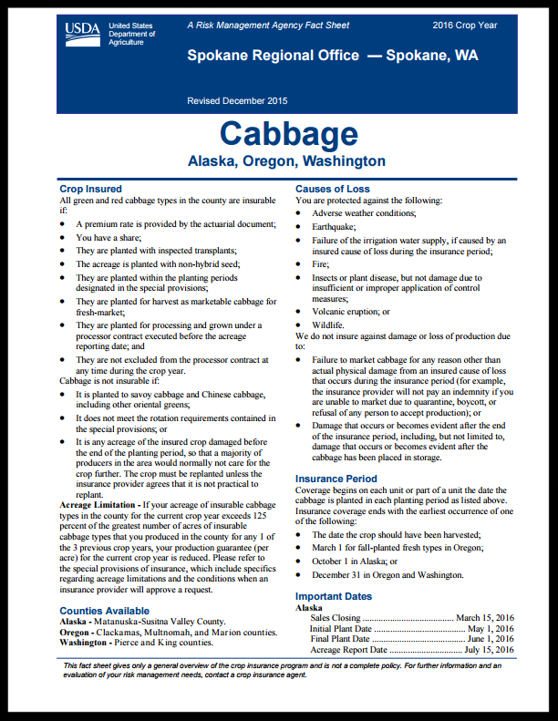 Cabbage Fact Sheet