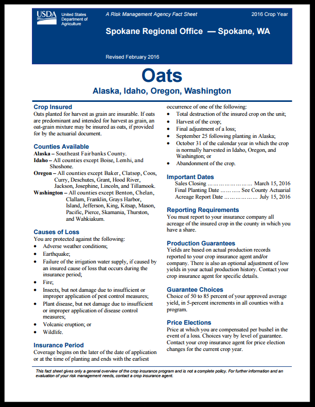 Oats Fact Sheet