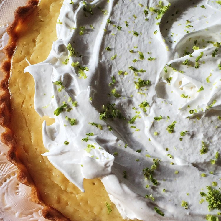 Key Lime Pie made in Argentina, when it would be too yellowish and tear in the oven.