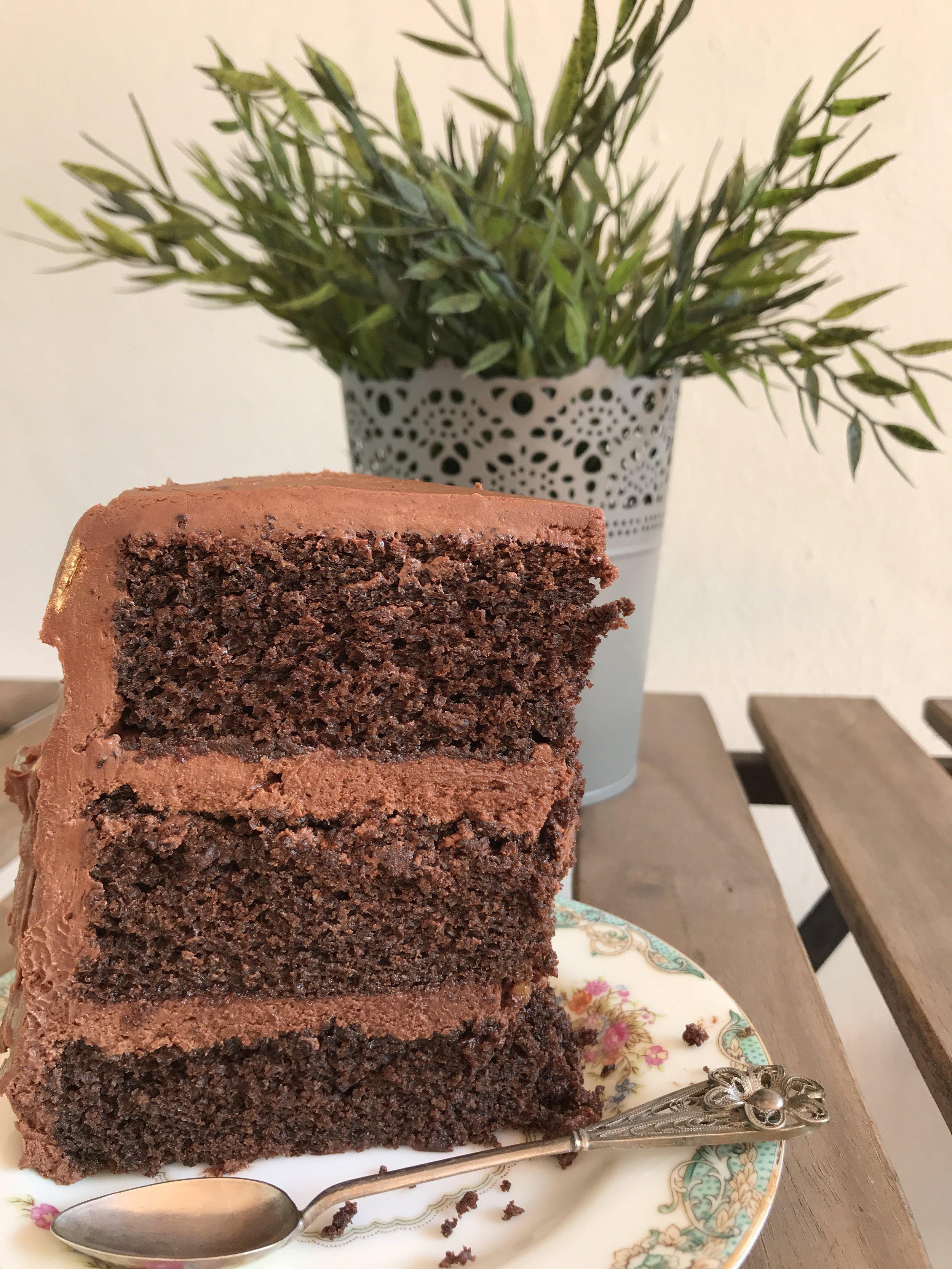 Inside of the chocolate cake.