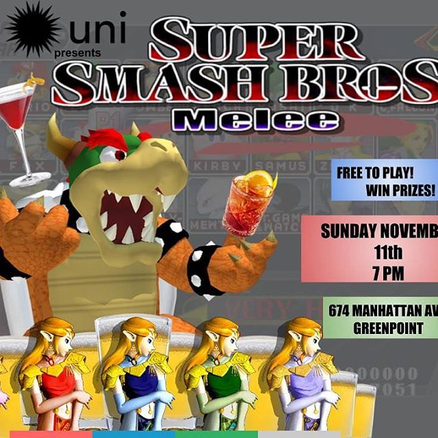 Bored? Tonight! Casual Super Smash Bros Tournament at 7pm! Free to play. Prizes, all night drink specials, $9 hot toddy, miso grilled cheese, and more! #free #smashbros #greenpoint #brooklyn #drinkspecials #hottoddy