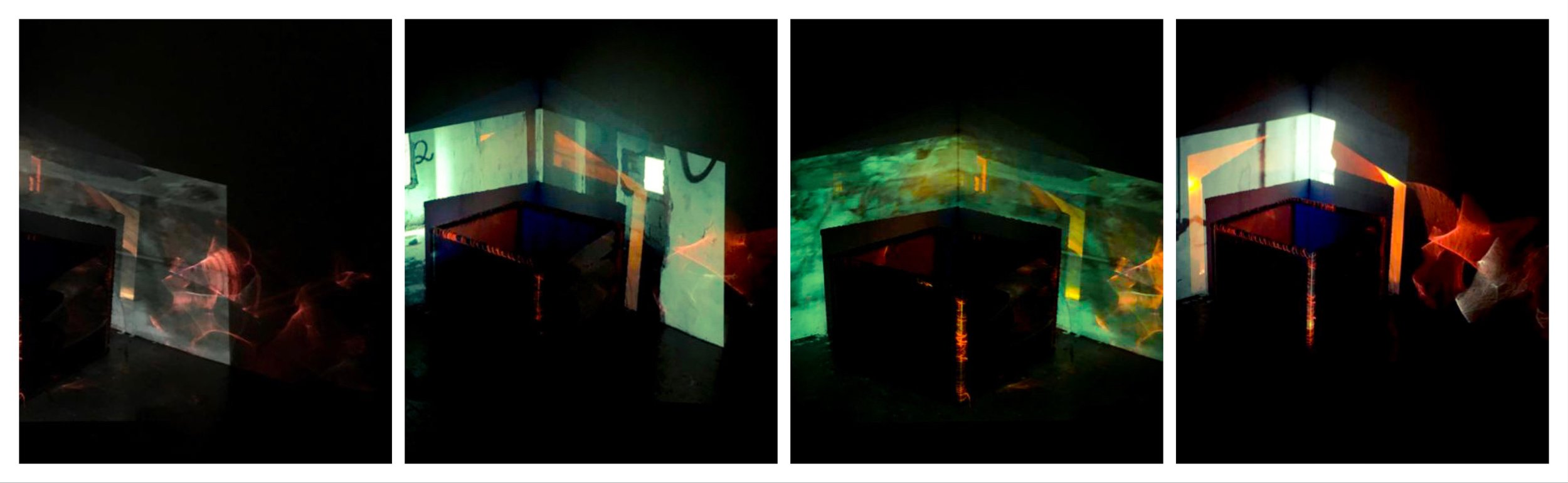 """Fire.       2016.      Steel, colored film gels, yarn, video projection of B/W footage I shot on the West Bank.  26"""" H 26"""" W 26"""""""