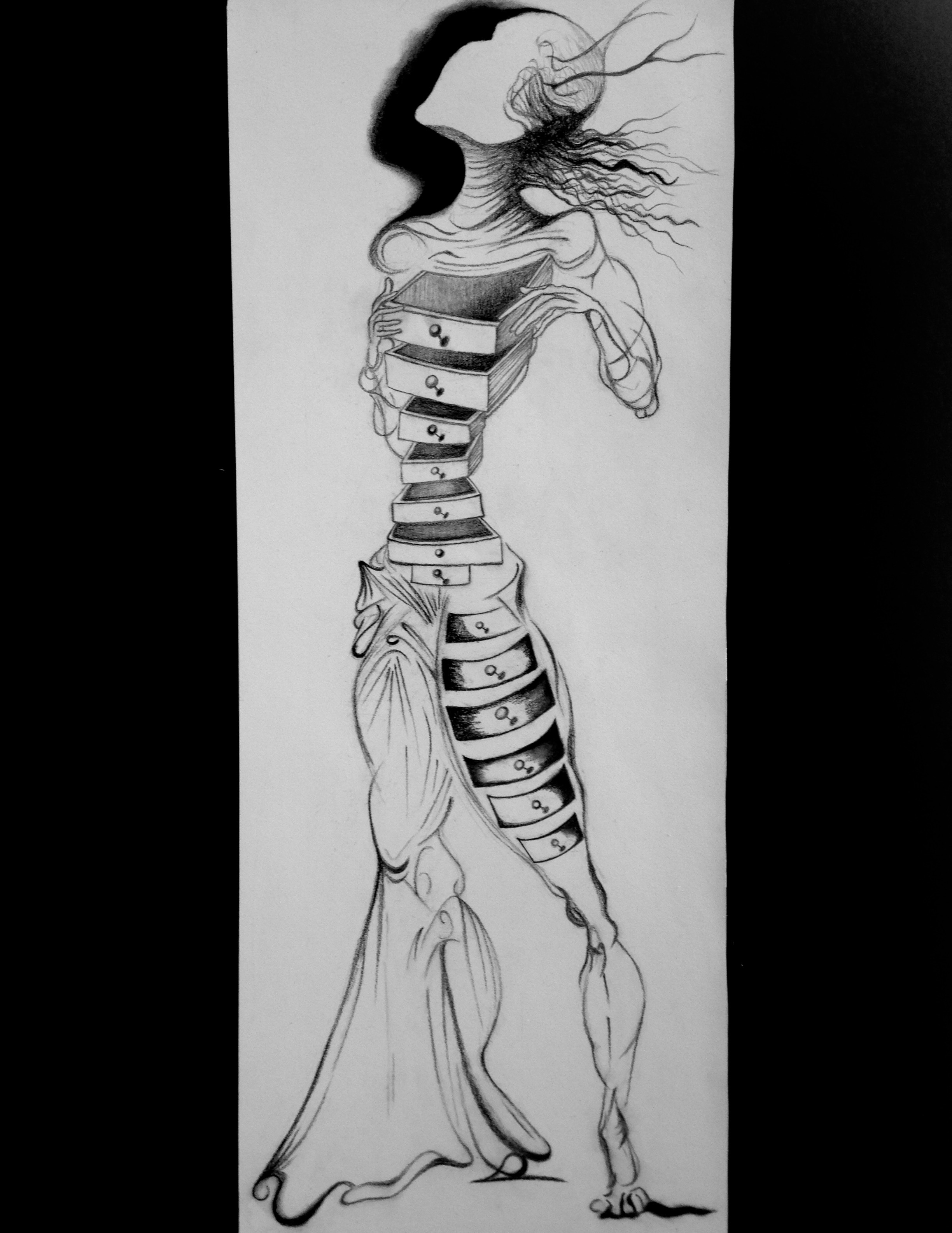 Replica of Salvador Dali's Figure with Drawers for a Four Part Screen. 1934.  Pencil sketch. 2016.