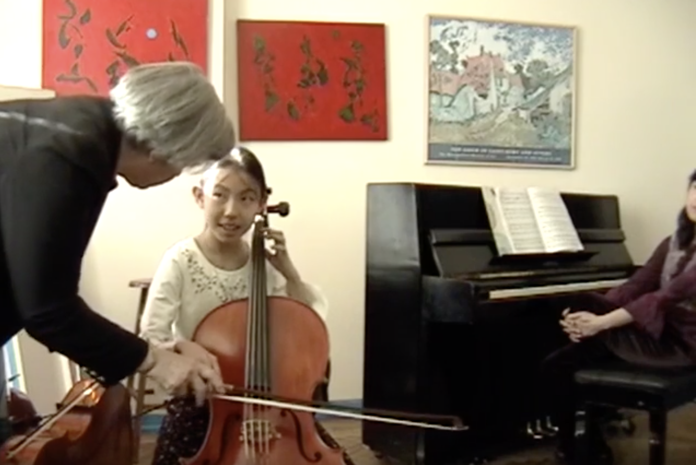 Cello Lesson with Renie. 2005, 72nd St New York, video still.