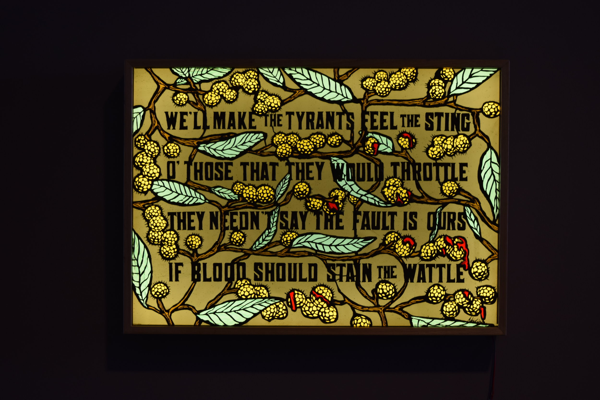 "Nadine Keegan ""Blood on the Wattle"" New and recycled glass, lightbox  See more of her work   HERE"