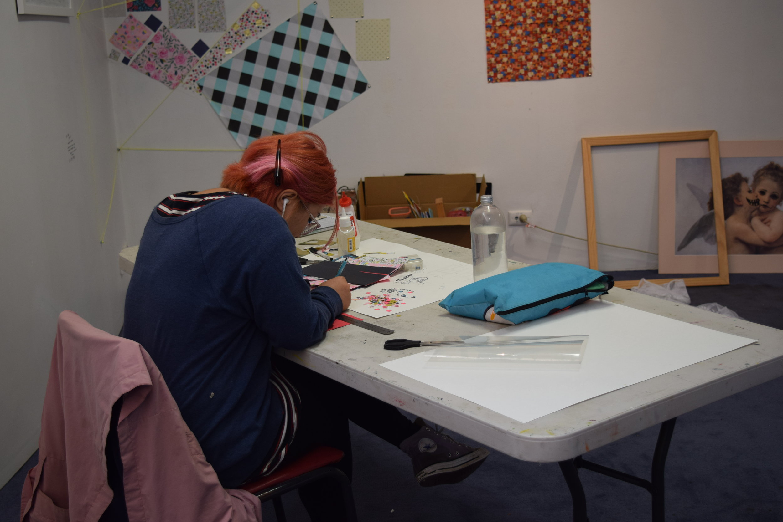 Artist Daisy Mak at work