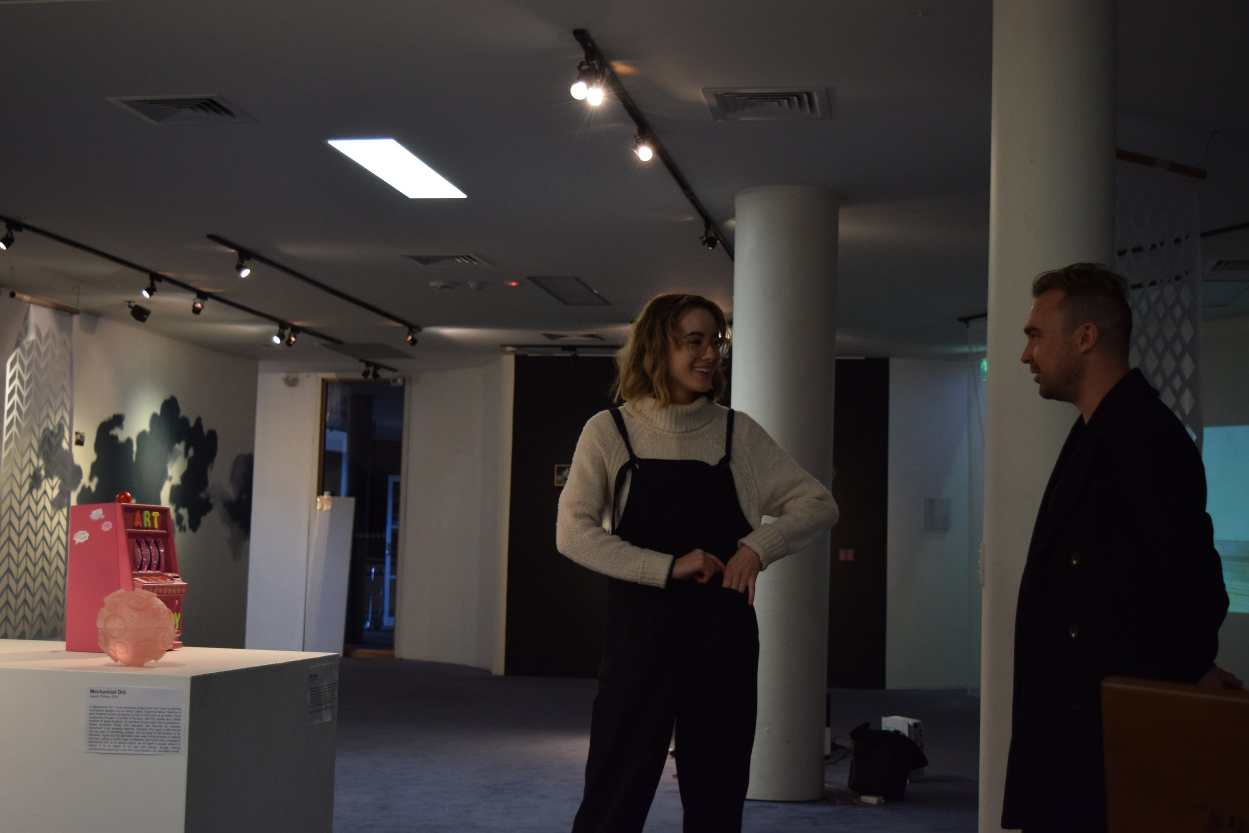 Artist Jessica Coldrey speaking with mentor Dave Thomson