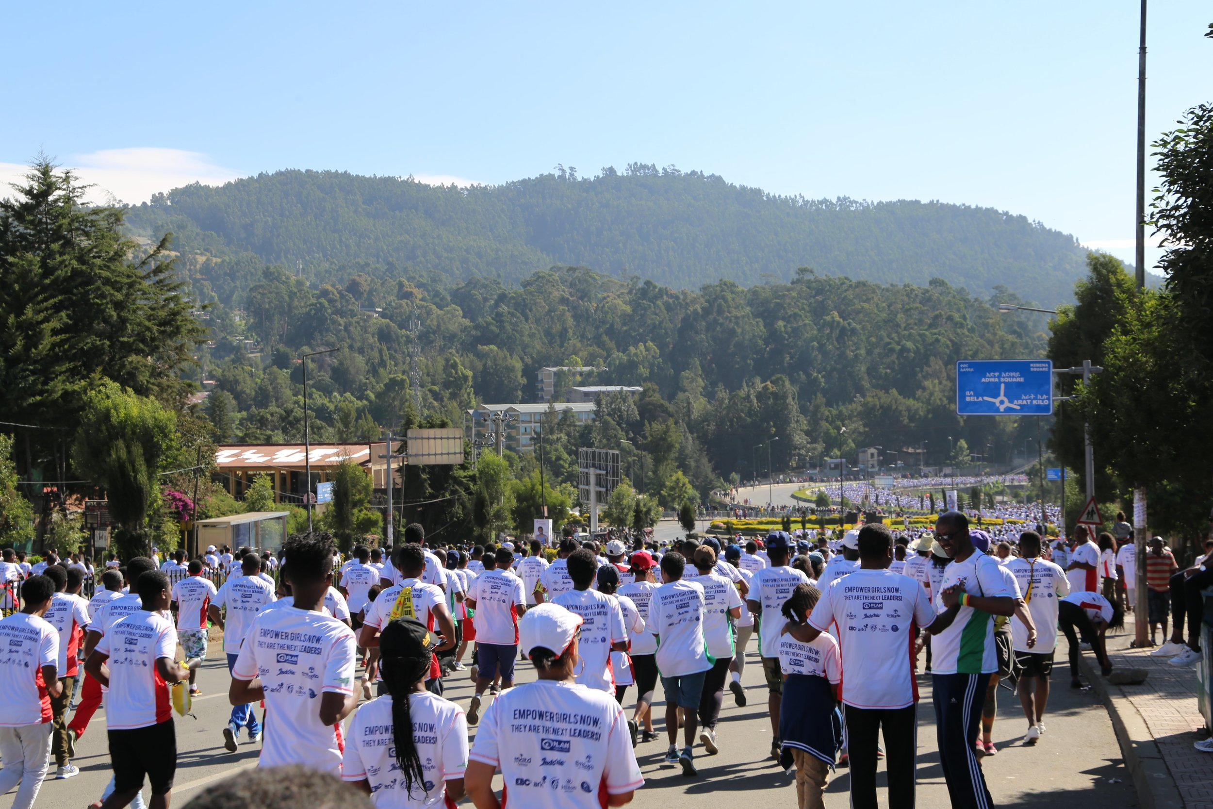 Mid run out on the course with thousands of Ethiopians