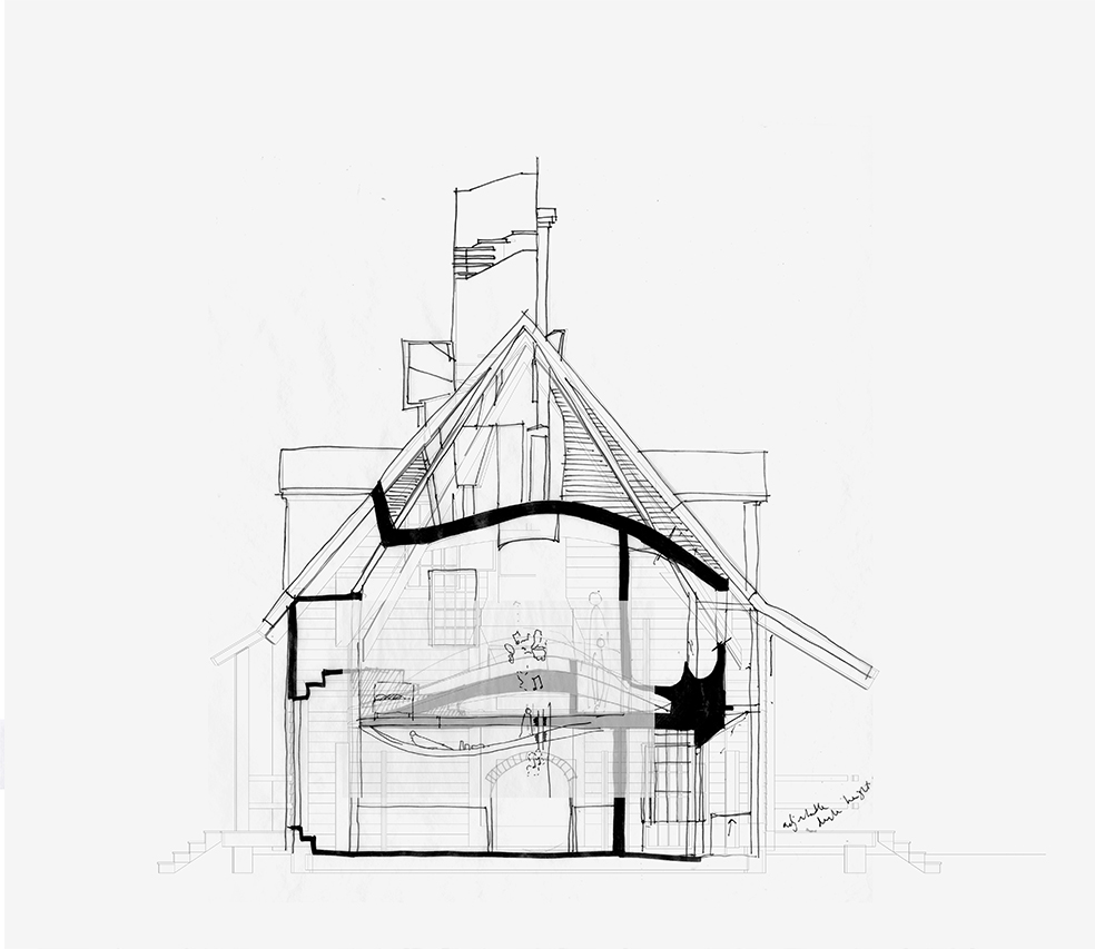 Sketch Section - House of Leaves - Space and Paper