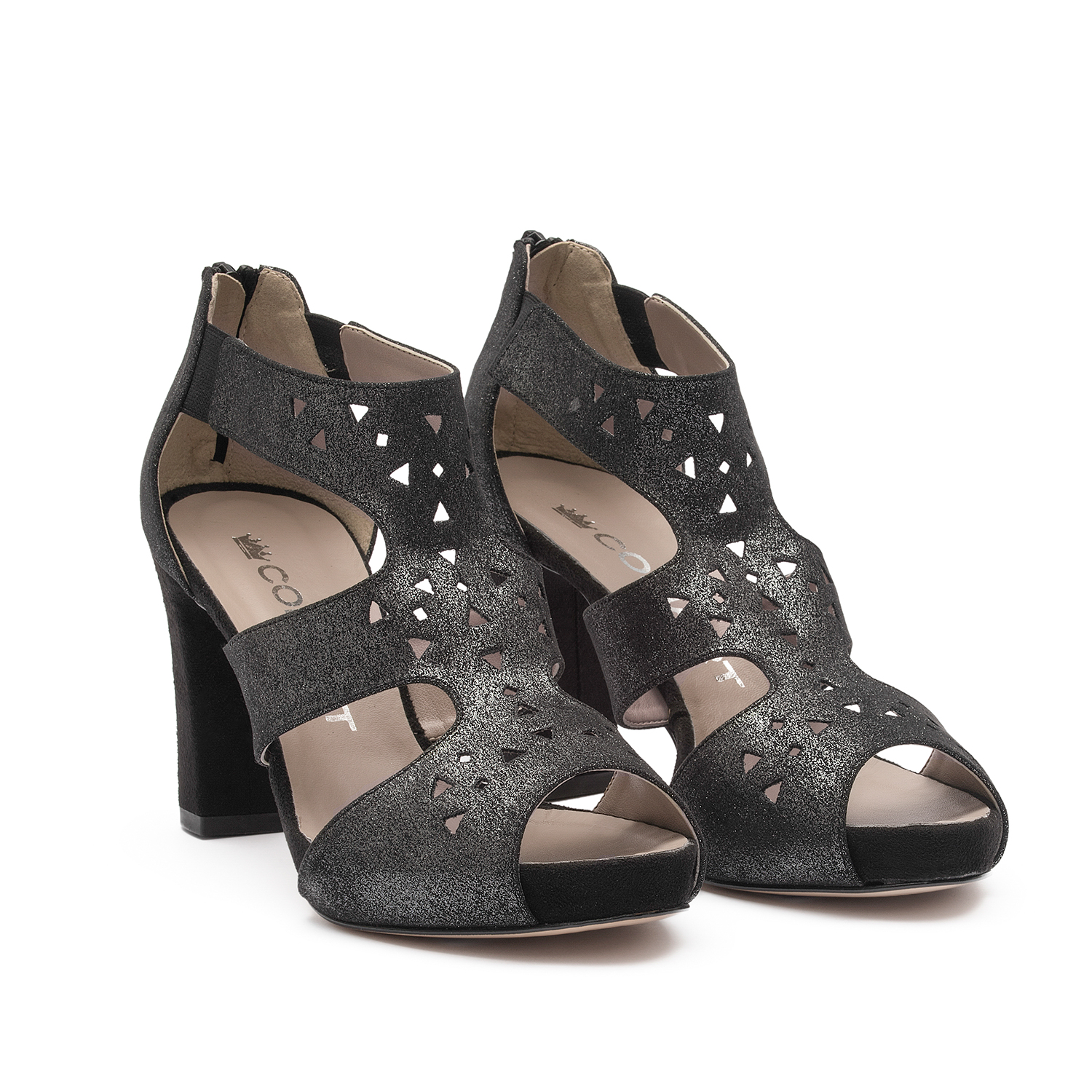 91967 - Sandal with upper in black glittery fabric suede, heel and plateau covered in black suede, decoration with laser punching and zip at the heel.