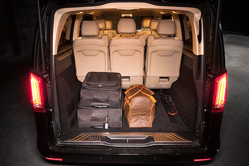 The Mercedes-Benz V class - also known as Viano - has indefinite space for luggage. We can also take out the back seats in order to fit in 30+ pieces of luggage.