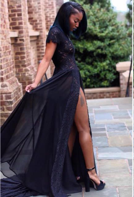 Black Lace sheer Dress with split - Copy.jpg
