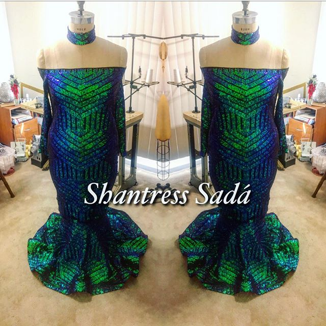 off the shoulder Blue and Green peacock Mermaid Dress with Collar.jpg