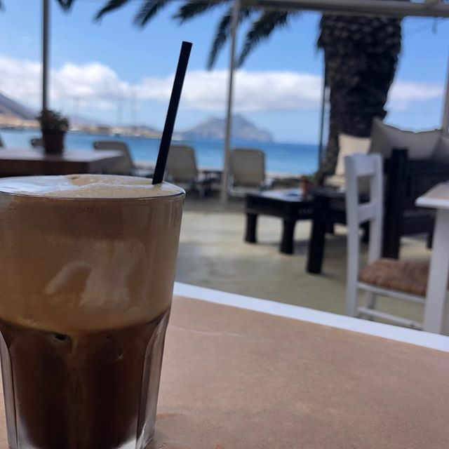 Coffee by the sea. @darlingemily @nissi_cafe #greece #greeceislands #aegeansea #amorgos  #mediterranean #coffeewithfriends