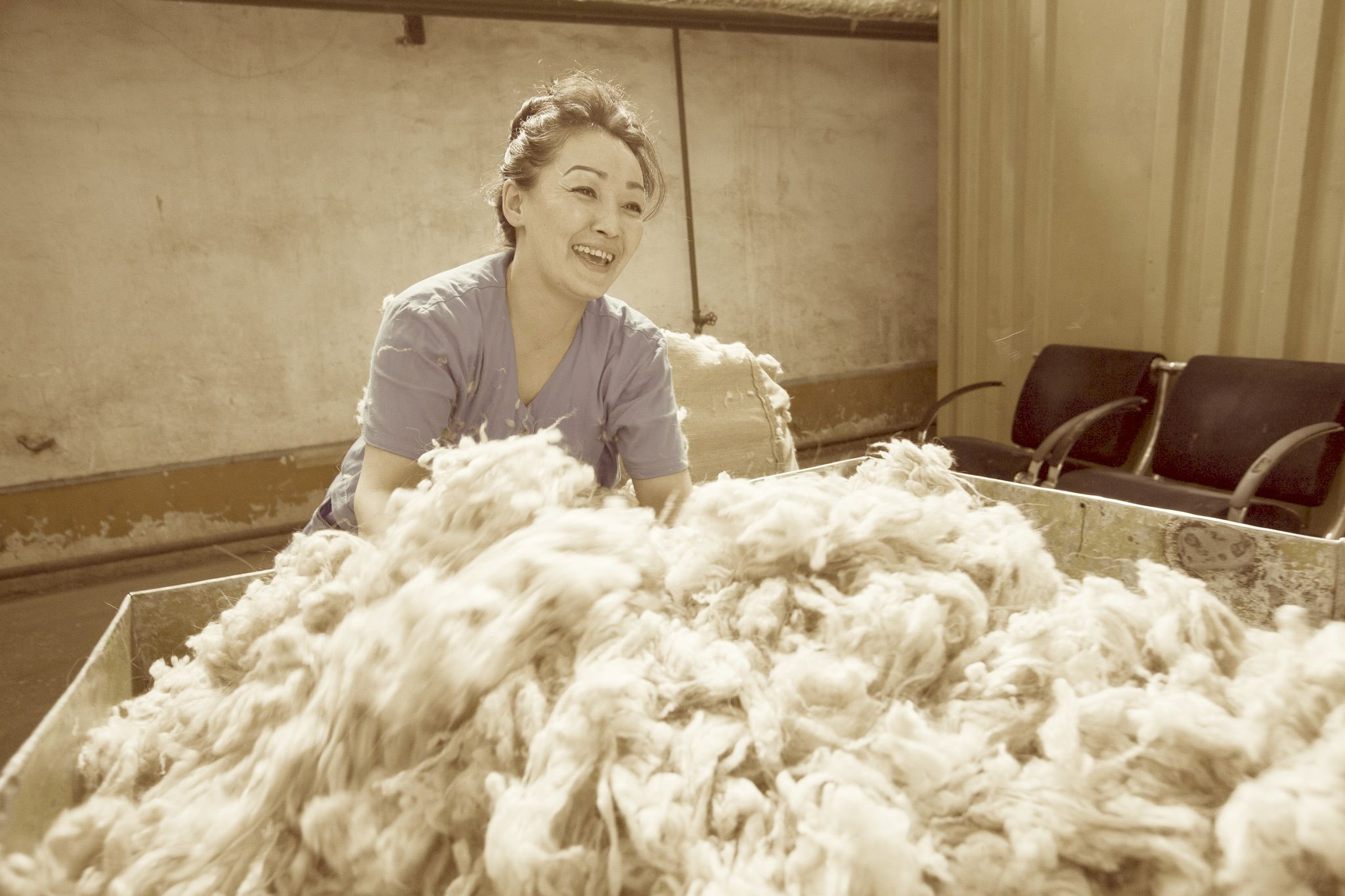 The malted and shaven cashmere goat hair arrives in the capital city of Mongolia, Ulaanbaatar. The lovely Bayarmaa and her colleagues receive the cashmere and prepare it for international distribution.