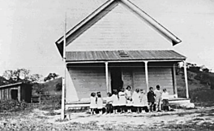 The first Conejo School built in 1877, located near the NW corner of Westlake Boulevard and Townsgate Road.
