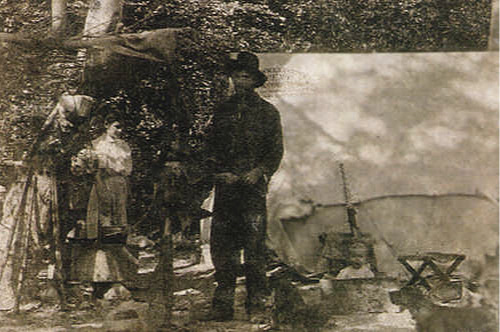 Lydia, Fred, and baby Evelyn camping at Lytle Creek in 1898 or '99. (Alice A. Thurman Collection)