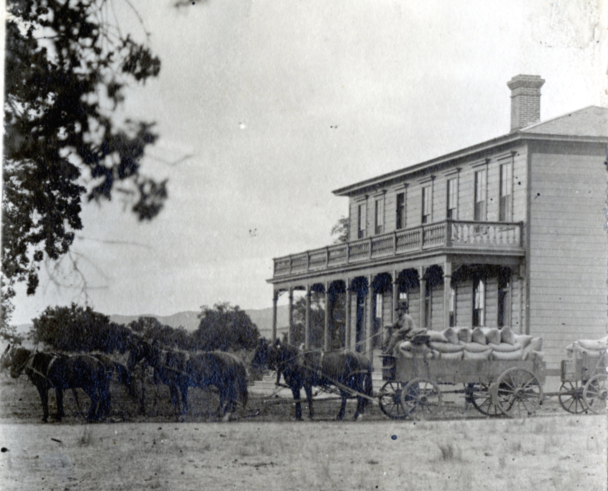 The Conejo Hotel (later known as the Stagecoach Inn) in 1890