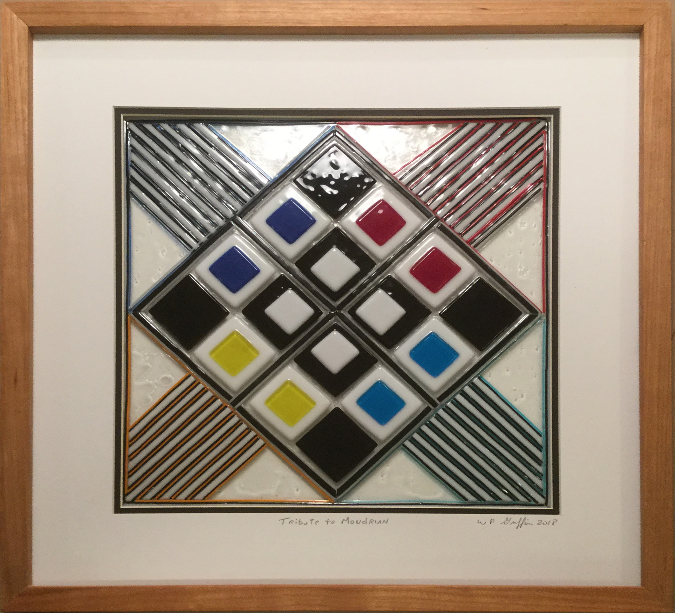 "A Tribute to Mondrian  2"" x 18"" x 18"" Glass $350.00"