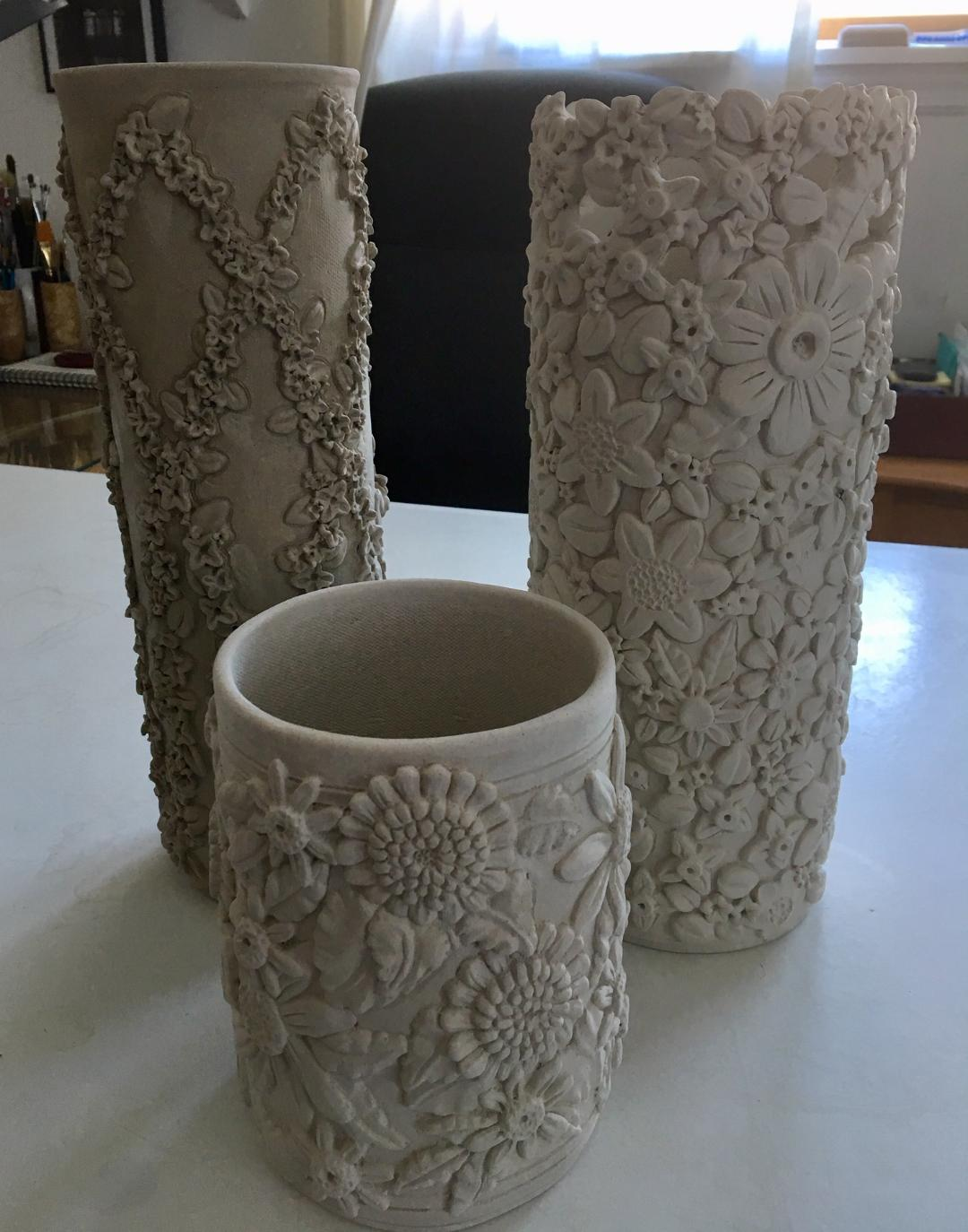 Here's the a quick photo of Sue's latest vases. They have to dry slowly for a week or so then they will be ready to be fired.