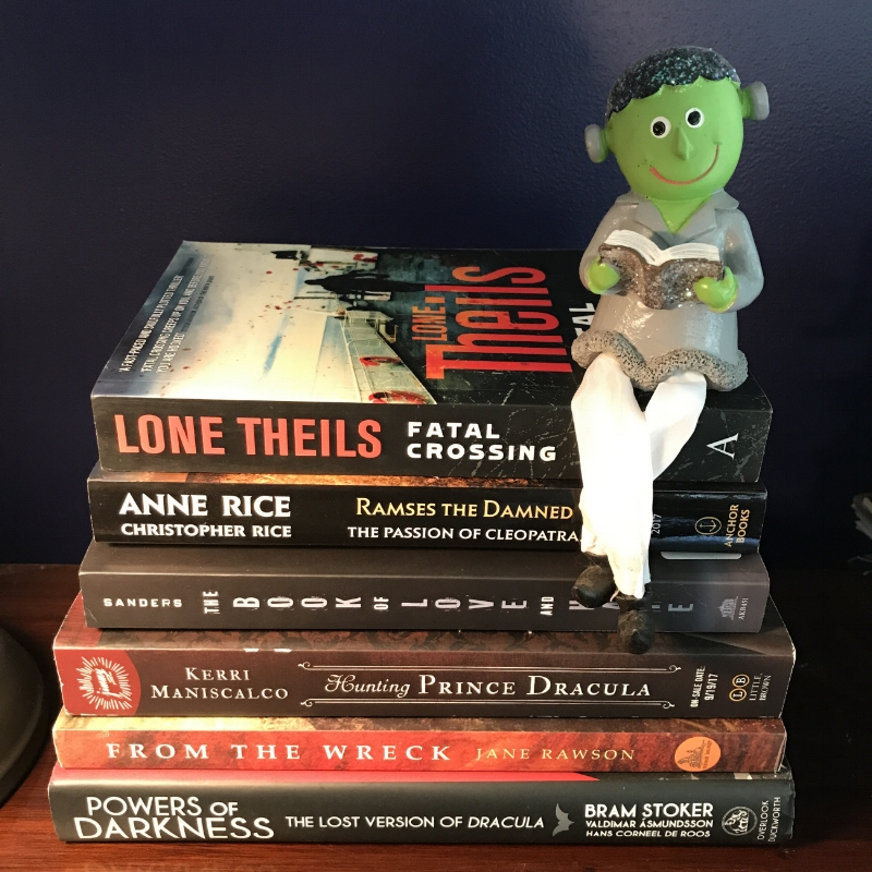 The stack of books Chris has gathered for the R.eaders I.mbibing P.eril XII Challenge (#RIPXII). This is an annual reading event now in its 12th year. From September 1st through October 31st participants celebrate the deliciousness that is horror, paranormal, mystery, dark fantasy, and more. Basically, the dark and creepy genres that go hand-in-hand with autumn.