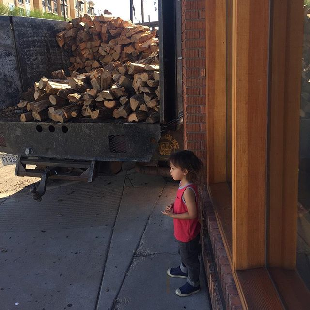 Wood delivery supervisor working hard this morning  #woodfiredoven #bossboy #pizzalife
