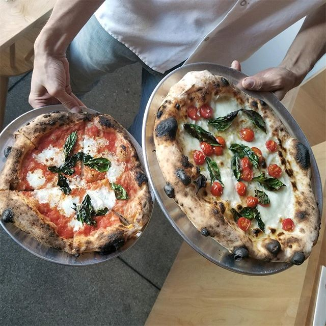 We got a doozy! Buffalo mozzarella, local cherry tomatoes, garlic and  basil tonight!  #naturallyleavened #woodfiredpizza #pizzalife #thisistucson