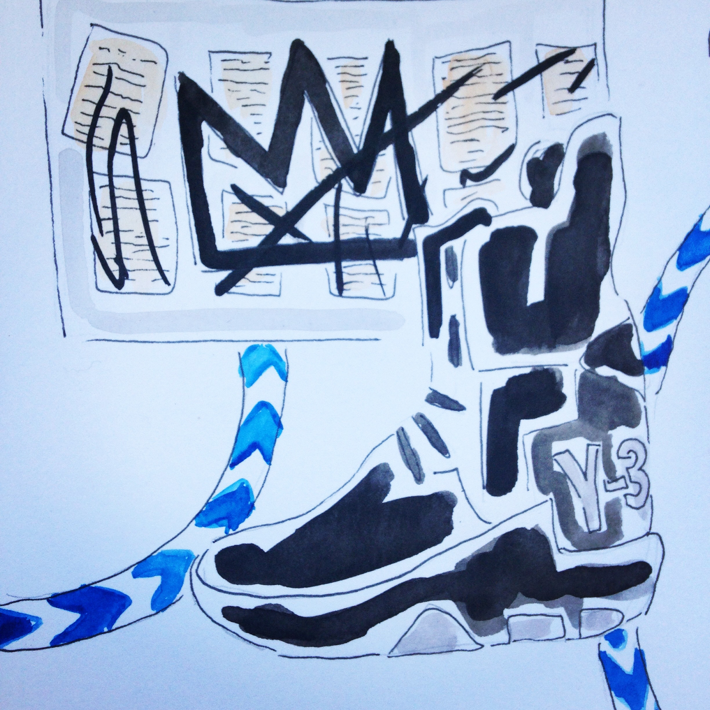 Y-3 Noci High Top Shoe available here pictured with Basquiat's Crown Painting.