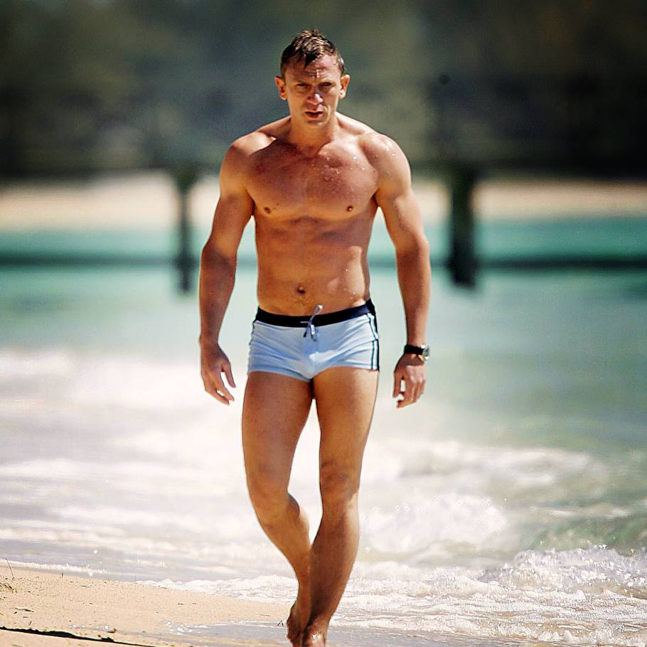 Iconic swimwear moment with Daniel Craig as James Bond