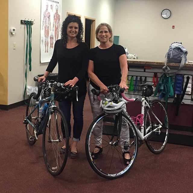 "Windham office therapists Em and Laura celebrating ""Ride your bike to work day."" (A week late but spring arrived late too this year!) Great start to a long weekend.  Happy Memorial Day to all!"