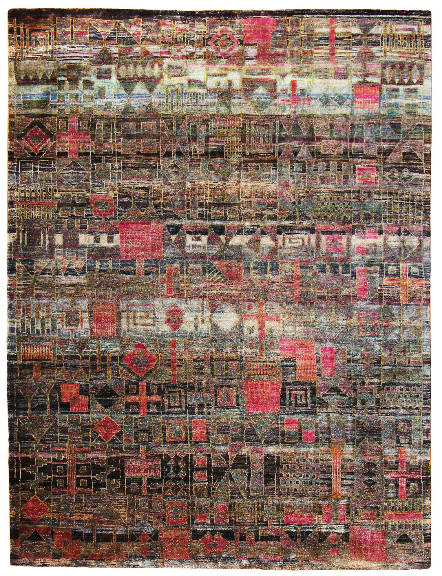 "734 Kundan Silk, Jaipur, up-cycled Sarri Silk, 5'8"" x 7'7"""