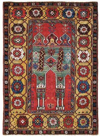 "antique konya prayer rug, 3'7"" x 5' circa 1780-1800"