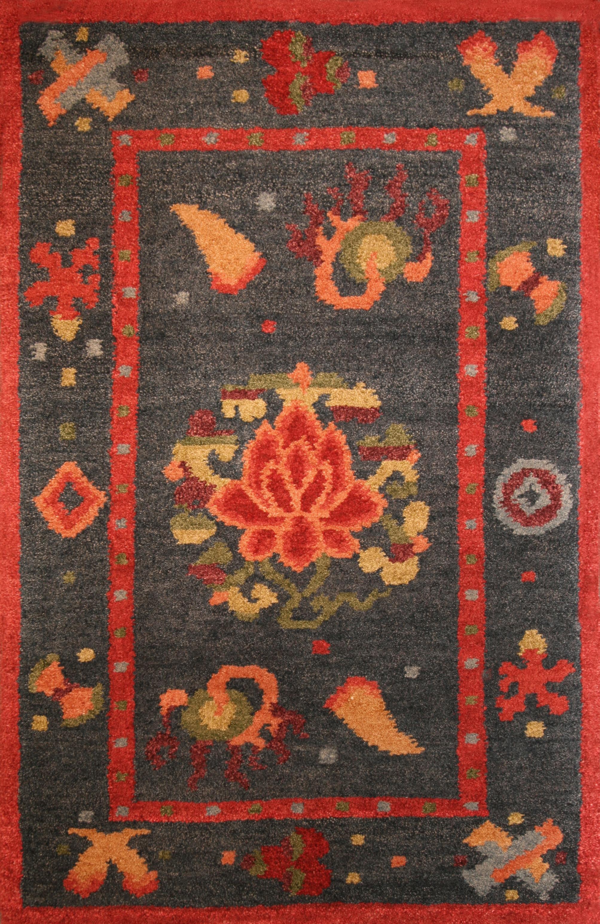 13 Lotus and Amulet, Tibet, 2'x3'