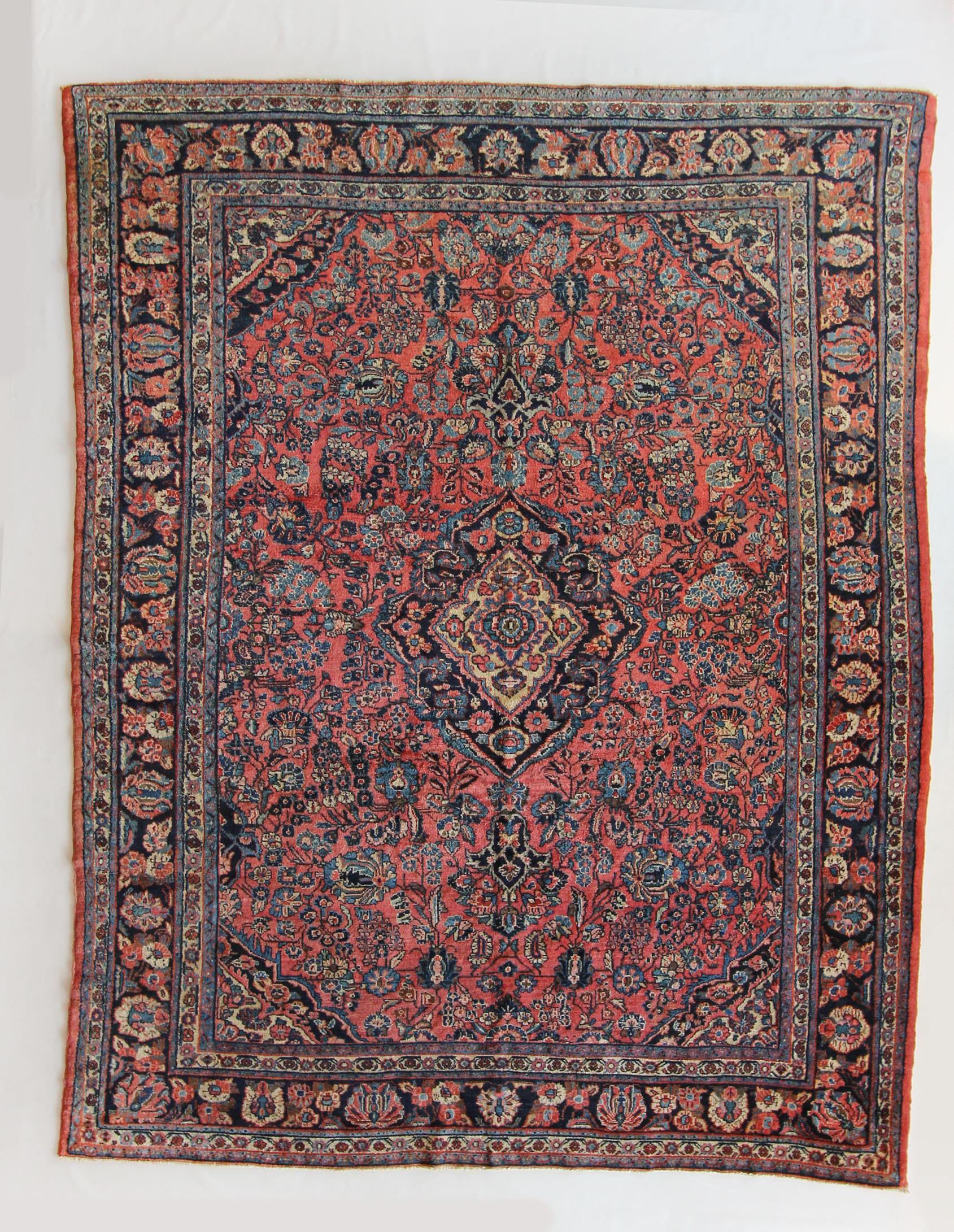 """183 Antique Persian Lilihan, circa 1920, 7'10""""x10'3"""""""