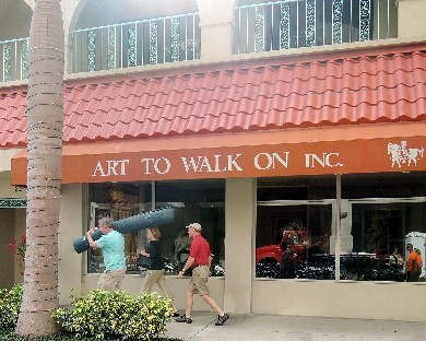 Sarasota's Art to Walk On offers a luxe retail concept for consumers who are seeking exclusivity for their floors. Below, a special event for the gallery's discerning buyers..