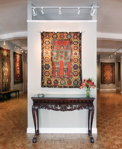 A Konya prayer rug from Anatolia, c1780 takes center stage at Art to Walk On's exhibition of antique Armenian carpets.